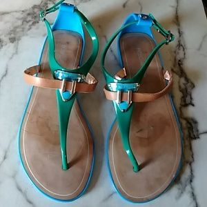 BCBG Calantha Jelly Leather Teal & Green Sandals